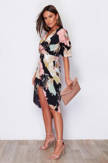 Blush Flower Print Chelsea Half Sleeve Wrap Midi Dress