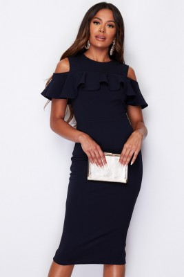 Cold Shoulder Midi Dress Navy