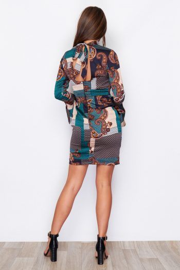 Floral Open Back Mini Dress Teal and Paisley Print