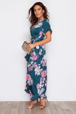 Green Print Split Hem Frill Detail Maxi Dress
