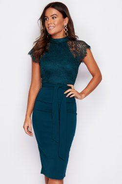 High Neck Lace Top Midi Dress Emerald Green