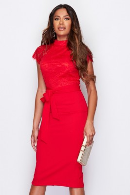 High Neck Lace Top Midi Dress Red