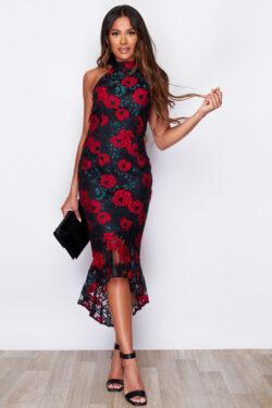 Lace Detail High Neck Hi-Lo Fishtail Hem Midi Dress Black Red Rose