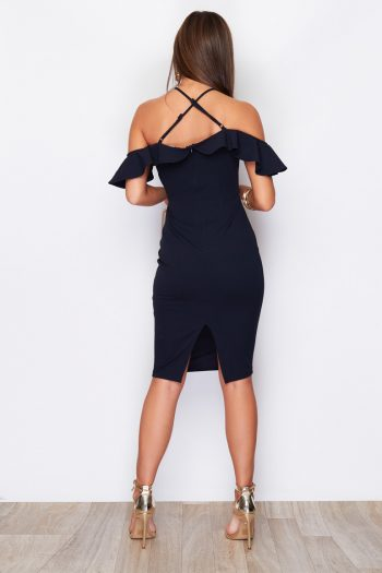 Off The Shoulder Cross Strap Tie Waist Midi Dress Navy