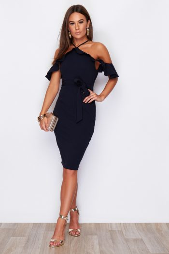 Saffron Off The Shoulder Cross Strap Tie Waist Midi Dress Navy