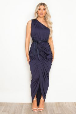 Ruched One Shoulder Maxi Dress Navy