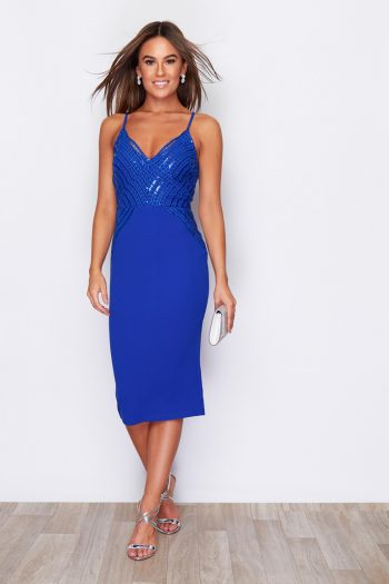 Sequin Top Strappy Midi Dress Cobalt