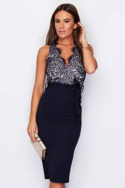 Tie Waist Midi Dress with Lace Detail V Neck Navy