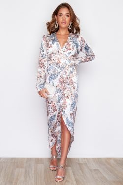 White Print Indie Wrap Flute Sleeve Maxi Dress
