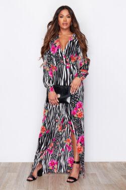 Zebra Floral Print Split Wrap Maxi Dress