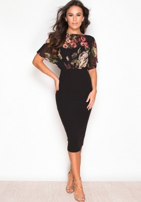 Autumn Floral Midi Dress Black