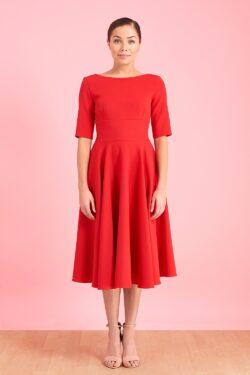HEPBURN MID SLEEVE SWING DRESS RED