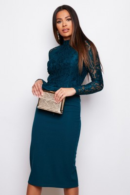 Hi Neck Long Sleeves Midi Dress