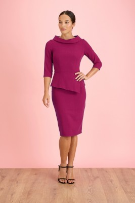 KENNEDY PEPLUM DRESS Magenta