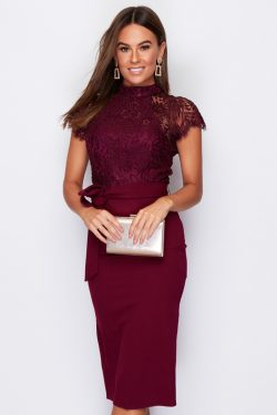 Berry High Neck Lace Top Midi