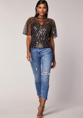 Blue n Gold Art Deco Embellished Top