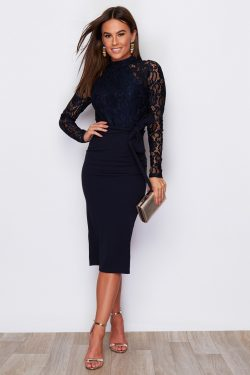 Navy Hi Neck Long Sleeve Midi
