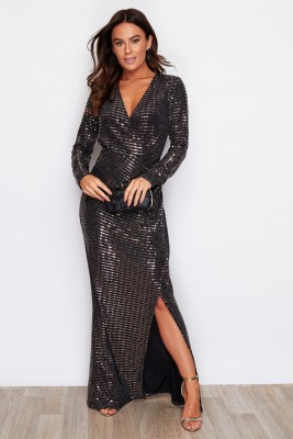 Sequin V Neck Wrap Maxi Bronze
