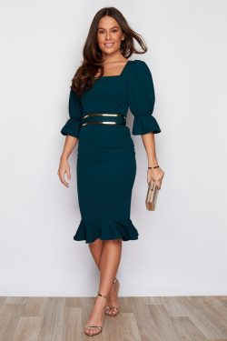 Square Neck Puff Sleeve Fishtail Hem Belted Midi