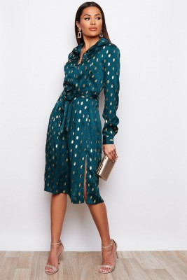 Green Spotted Print Tie Front Shirt Midi