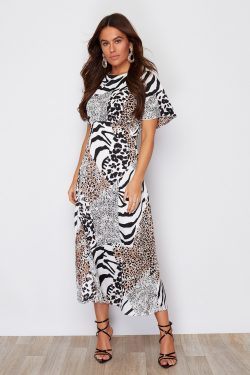 Animal Print Split Leg Midi Angel Sleeve