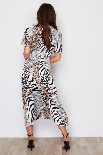 Animal Print Split Leg Midi Angel Sleeve
