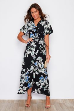 Black Navy Print Split Hem Frill Detail Wrap Maxi