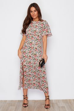 Pink Floral Angel Sleeve Split Leg Midi