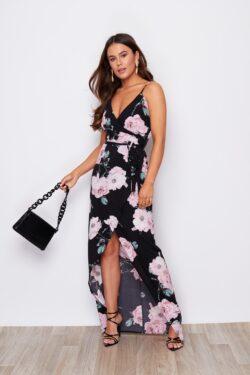 Black & Pink Floral Maxi Wrap