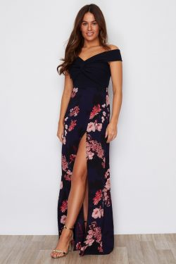 Navy Floral Off The Shoulder Split Leg Maxi