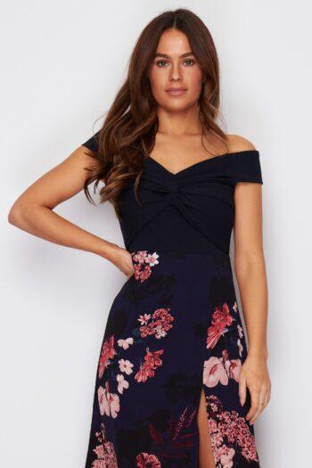 Navy Floral Off The Shoulder Split Leg Maxi