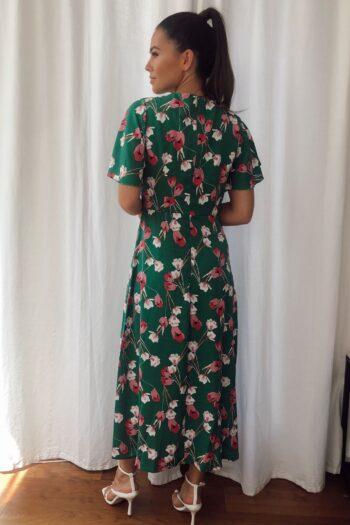Angel Sleeve Split Leg Midi Dress Green