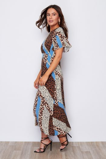 Animal Print Angel Sleeve Split Leg Midi