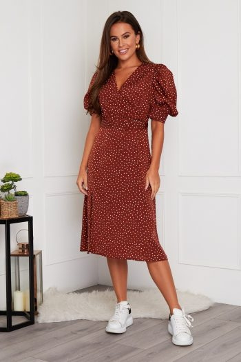 Brown Puff Sleeve Belted Midi