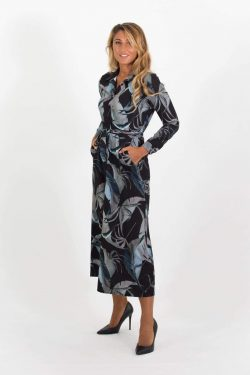 luca Shirt Dress Black & Khaki Green Leaf Print