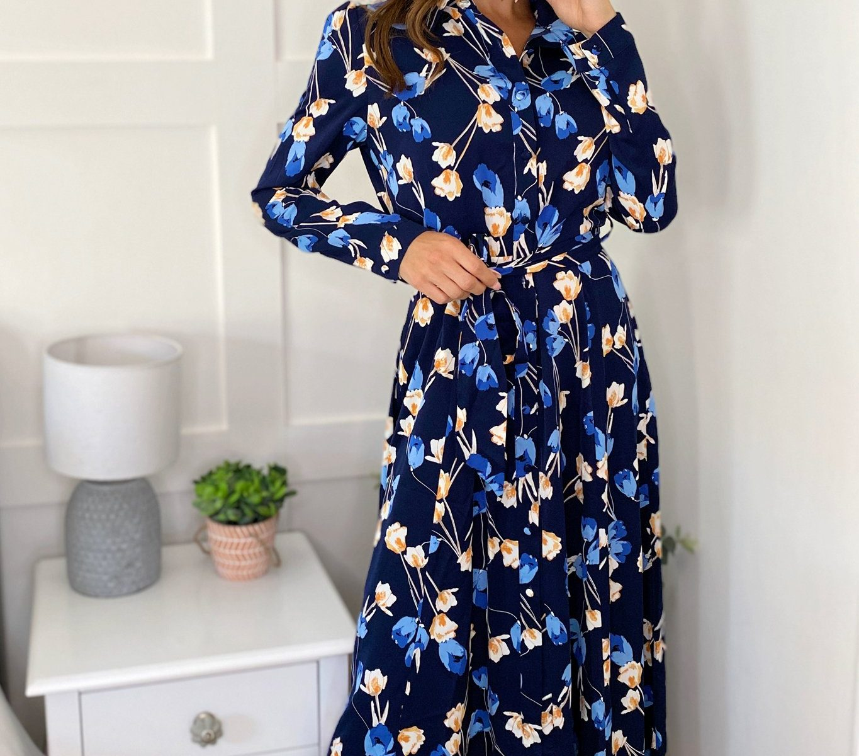 Navy Floral Long Sleeve Shirt Maxi