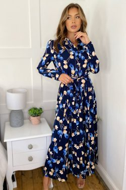 Navy Floral Long Sleeve Shirt Maxi
