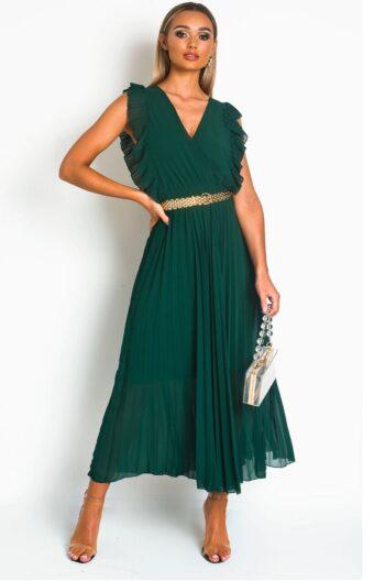 Pleated Maxi Dress In Green
