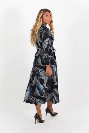 luca Shirt Dress Black & Khaki Green Leaf Print